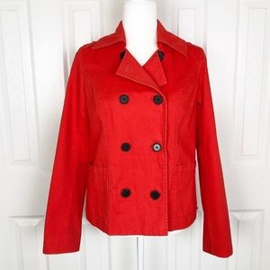 Old Navy orange coral double breast pea coat